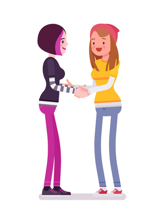 Young women handshaking
