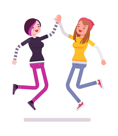 hi five: Young women jumping giving high five Illustration