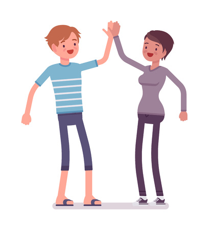 manner: Young man and woman giving high five