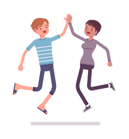 manner: Young man and woman jumping giving high five Illustration