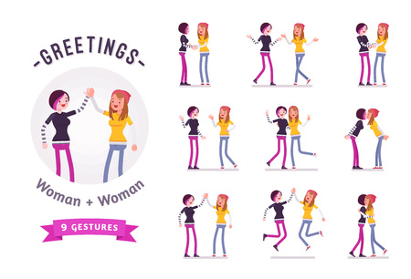 Teen girls greeting character set, various poses and emotions