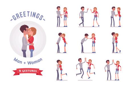 Young man and woman greeting character set, various poses, emotions.