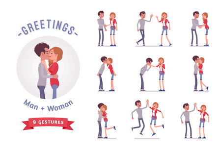 Young man and woman greeting character set, various poses, emotions.