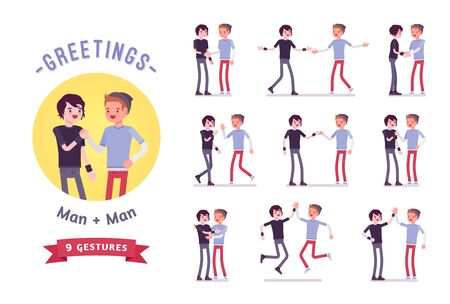 Teens greeting character set, various poses and emotions Stock Illustratie