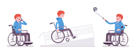 smartphone: Male young wheelchair user with phone, selfie camera, on ramp Illustration