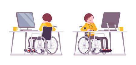 Female young wheelchair user working with computer 向量圖像