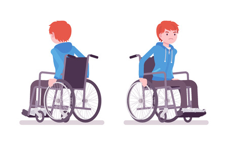 Male young wheelchair user moving manual chair Illustration