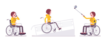 Female young wheelchair user with phone, selfie camera, on ramp Иллюстрация
