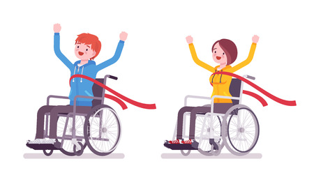Male and female young wheelchair user crossing red finish line