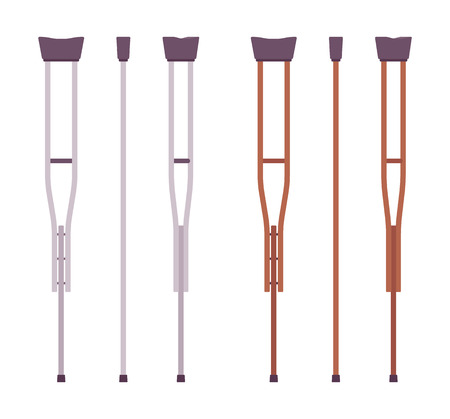 Axillary crutches set. Armpit or underarm walking equipment, leg and body support for old and disabled people. Vector flat style cartoon illustration, isolated, white background, different positions Иллюстрация
