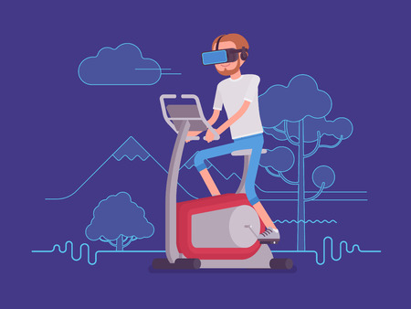 VR man running on exercise bike. Creation of an outdoor environment motivates to pedal and do sport activity. Virtual reality and entertainment concept. Vector flat style cartoon illustration.