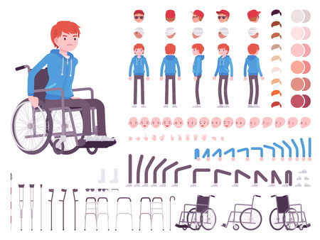 Male young wheelchair user character creation set Vettoriali
