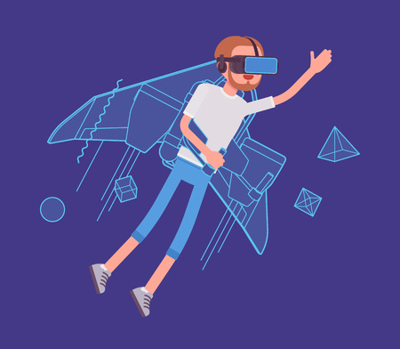 VR man jetpack flying. High interactive sky viewing, escaping from the real world, fantasy flight. Virtual reality and entertainment concept. Vector flat style cartoon illustration Stock Vector - 86986430