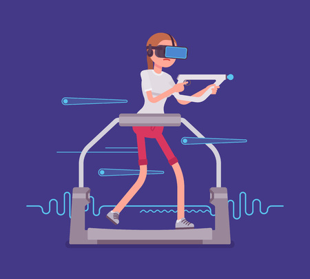 cyber woman: VR woman with aim controller on gaming treadmill.