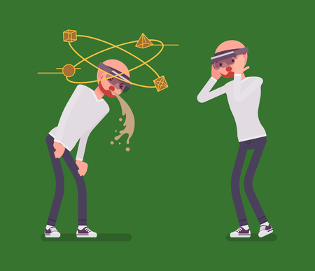Augmented reality man having nausea and negative experience