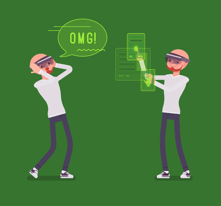 device: Augmented reality man having positive experience Illustration