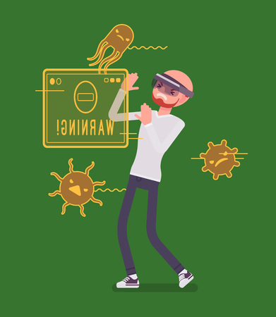device: Augmented reality man having negative experience Illustration