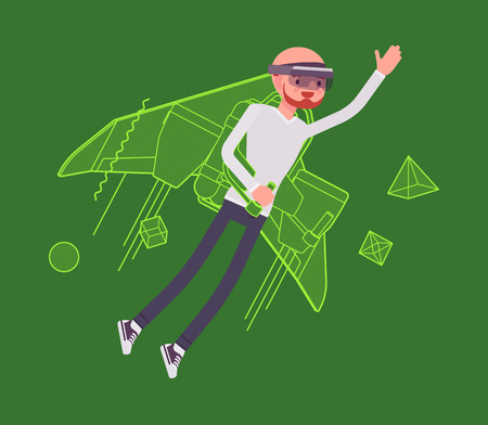 Augmented reality man jetpack flying. High interactive sky viewing, escaping from the real world, fantasy flight. AR and entertainment concept. Vector flat style cartoon illustration Illustration