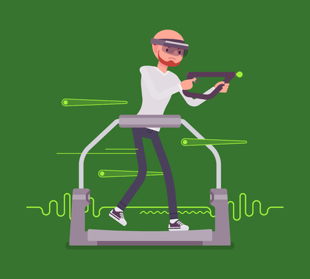 Augmented reality man with aim controller on gaming treadmill Illustration