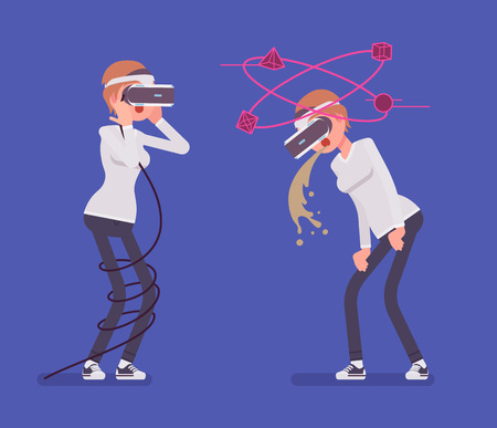 VR woman having nausea and negative experience. Feeling sick, vomiting viewing three-dimensional images, tied in a long cord. Virtual reality and entertainment. Vector flat style cartoon illustration
