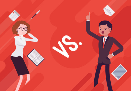 Versus. Vs. Business demotivation poster. Battle, contrast or the alternative of, fight between businessman and busineswoman in the office. Vector flat style cartoon illustration on red background Illustration