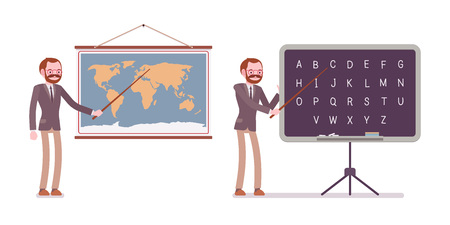 Professional teacher in formal wear, standing and pointing to the map and blackboard, teaching a lesson of geography and english letters, full length, illustration.