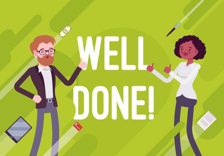 Gut gemacht. Business-Motivation-Plakat. Gute Planungs- und Organisationsfähigkeiten, effektiver und effizienter Lauf, wachsen das Unternehmen. Art-Karikaturillustration des Vektors flache auf grünem Hintergrund