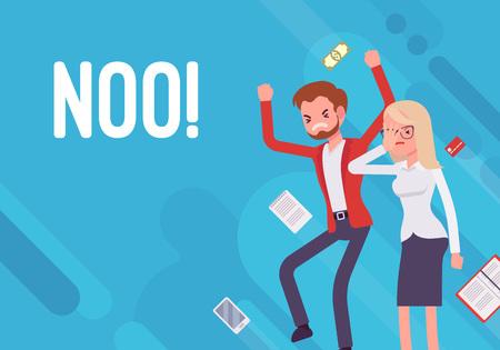 Noo! Business demotivation poster on blue background.