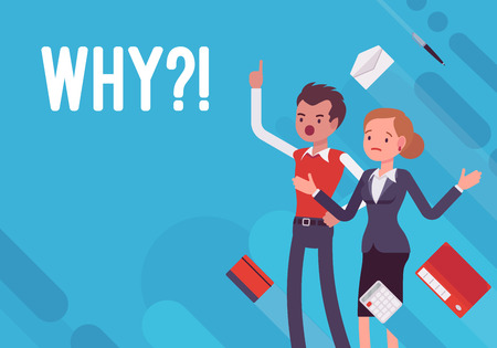 Why?! Business demotivation poster on blue background.