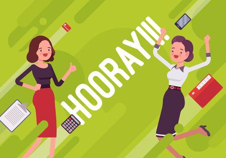 Hooray! Business motivation poster on green background. Illustration