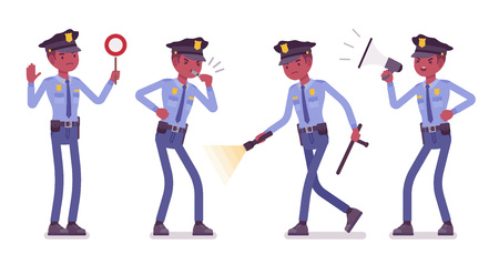 Policeman with signals and light Ilustrace