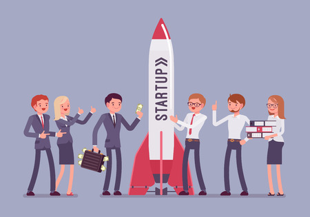 Successful startup rocket. Team of young happy people starting working on new business project, launching good, profitable investment. Illustration