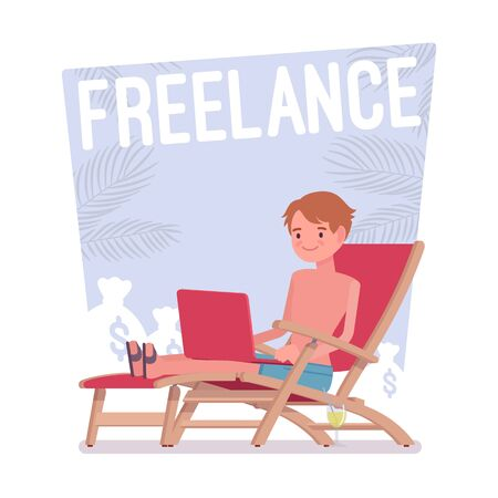 Freelance happy man. Self-employed smart young guy working online relaxed on beach, professional activity in comfortable environment.