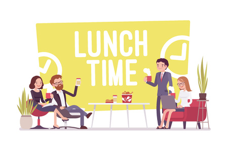Lunch time in the office cartoon illustration. Stock Vector - 89281889