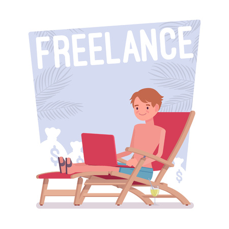 Freelance happy man cartoon illustration. Illustration