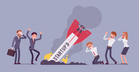 Startup rocket crash. A team of young unhappy people sad about launching an unworking project, management failed to achieve profit. flat style cartoon illustration isolated on blue Stock Photo