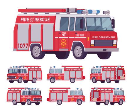 Ensemble de moteur de pompier. Véhicule rouge de service d'urgence avec un camion-citerne pour les opérations de lutte contre l'incendie, transporte l'équipe et l'équipement des pompiers. Illustration de dessin animé de vecteur plat style sur fond blanc Banque d'images - 89537323