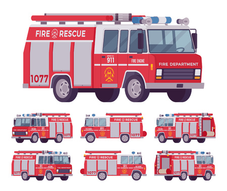 Fire engine set. Emergency service red vehicle with water tanker for firefighting operations, carries firefighters squad and equipment. Vector flat style cartoon illustration on white background