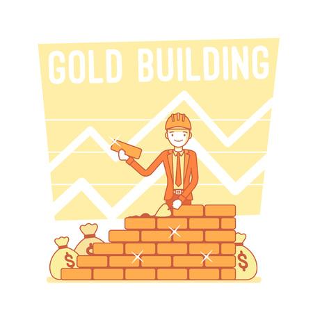 Gold building. Lineart concept illustration