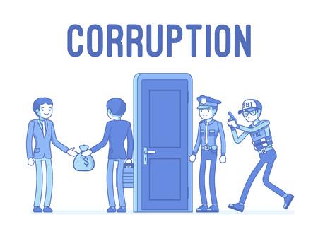 Funcionarios arrestados en caso de corrupción Ilustración de vector