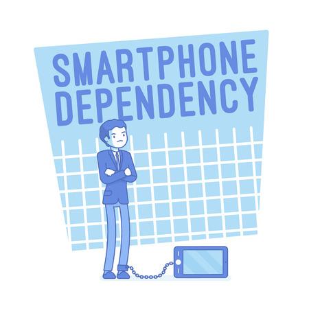 Smartphone dependency. Lineart concept illustration