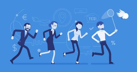 Team chasing an idea illustration