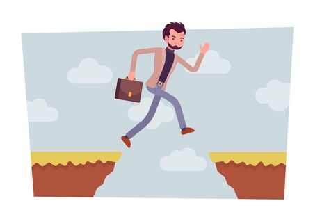 Man jumping over the abyss Stock Photo