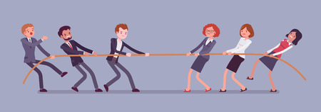 Tug of war, men vs women. Male and female teams in contest pulling against each other, opposite genders in test of strength and superiority. Vector flat style cartoon business concept illustration