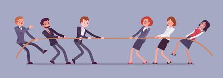 Touwtrekwedstrijd, mannen versus vrouwen. Mannelijke en vrouwelijke teams in wedstrijd trekken tegen elkaar, tegenover geslachten in test van kracht en superioriteit. Vector vlakke stijl cartoon bedrijfsconceptenillustratie