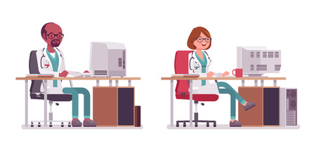 Male and female doctor working at the desk with computer, vector illustration.