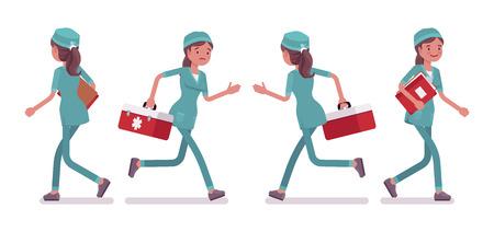 Female nurse walking