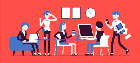 Busy day in a small office Illustration