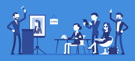 Auction public sale. Potential buyers making higher bids to get goods, property, participants, auctioneer announcing prices with hammer. Vector business concept illustration with faceless characters 向量圖像