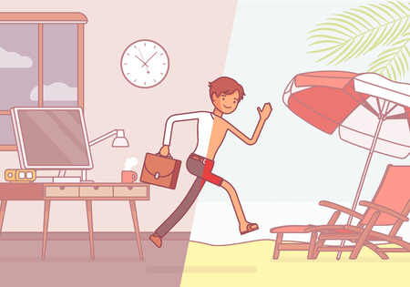 La metà di un uomo salta in vacanza. Il giovane lavoratore dopo essersi sentito stanco ed esausto in ufficio corre verso il resort sulla spiaggia per rilassarsi, sognando l'estate. Illustrazione di arte di linea di concetto di affari di vettore Archivio Fotografico - 91023803